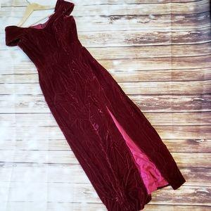 Vintage 90s Red Crushed Velvet Dress Small Prom